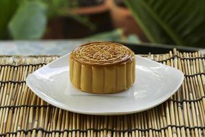 Moon cake with durian and egg yolk filling