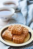 Retro vintage style Chinese mid autumn festival foods. Tradition