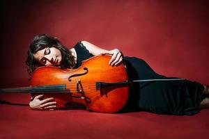 Cellist in concert photo