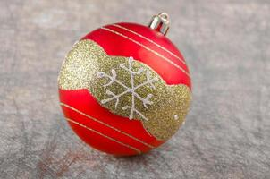 Red Christmas ball with snowflake