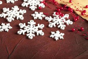 Christmas background - snowflakes and paper sheet