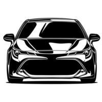 dibujo frontal del coche blanco y negro