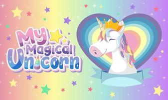 Unicorn Banner on Pastel Background Color vector