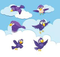conjunto de caracteres de aves sobre fondo de cielo
