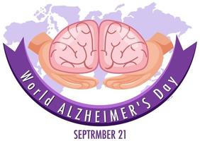 World Alzheimer's Day Logo or Banner with Brain vector