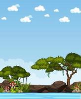 Escena de la naturaleza vertical o paisaje de campo con bosque