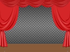Empty Stage with Red Curtains Transparent