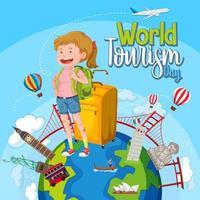 día mundial del turismo con lugares turísticos y famosos. vector