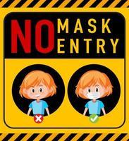No Mask, No Entry Warning Sign with Cartoon Character