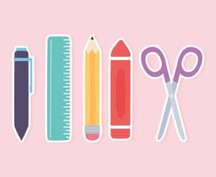 Ruler, pencil, scissors, crayon, and pen icons