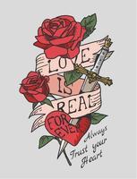 rosas, daga y corazón con cinta escrita