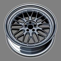 dibujo de rueda de coche azul plateado vector