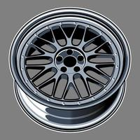 dibujo de rueda de coche azul plateado