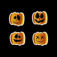 Halloween Jack'o'lantern pumpkin sticker set vector
