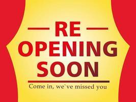 Re opening soon