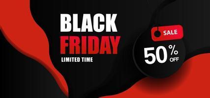 banner de venta a mitad de descuento de viernes negro