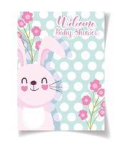 Plantilla de tarjeta de baby shower con conejo y flores.