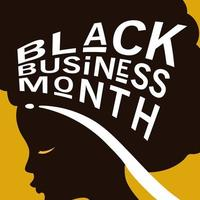 Black business month with afro woman silhouette