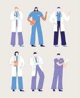 Physicians and nurses characters  vector
