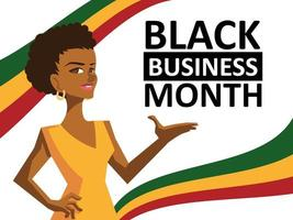 Black business month with woman cartoon