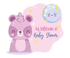 Baby shower with little raccoon  vector