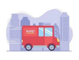 Online delivery service. Truck transport on city street