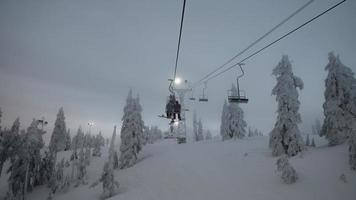 People on a ski lift photo