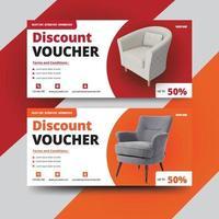 Modern discount voucher design set vector