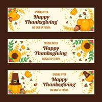 Colourful Happy Thanksgiving Day Sale Banners vector