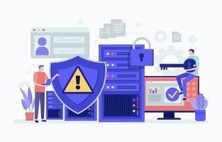 ilustración de seguridad cibernética vector