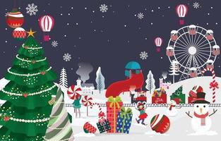 país de las maravillas en la noche de navidad vector