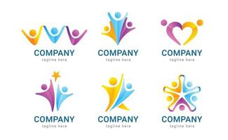 Set of Human Logo with Team Work Concept vector