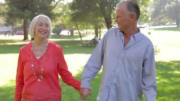 casal sênior em um passeio romântico pelo parque juntos