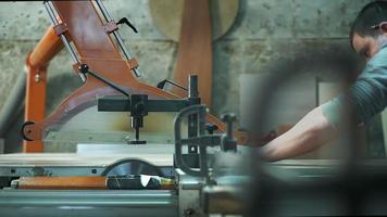 Tischler, der Holzbrett sägt video