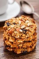 Homemade oatmeal cookies with seeds and raisin photo