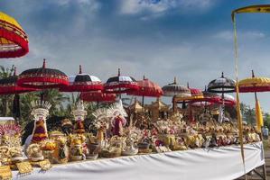 Melasti Ceremony Bali, Colorful Offerings and Umbrellas, Indonesia