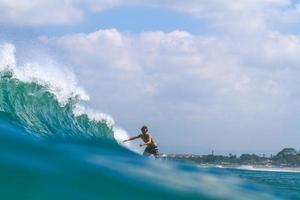 Surfing a wave.