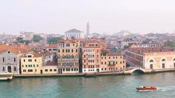 Large view of the  Venice skyline taken from the deck of a boat sailing the Cana