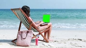 Pretty brunette using laptop on deck chair video