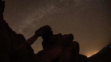 Star rotation time-lapse over Desert Sandstone Arch