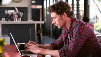 uomo maturo in caffè che lavora al computer portatile video