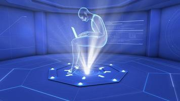 homem digital usando laptop