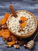 Ingredient for granola: oatmeal, honey, dried fruits, nuts