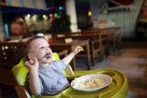 Boy has a lunch