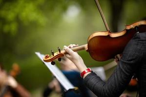 Woman holding violin with a focus on hand