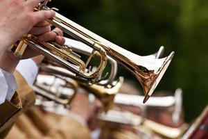 Close up of band and trumpet player