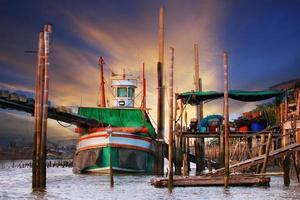 fishery village in coastal area in thailand