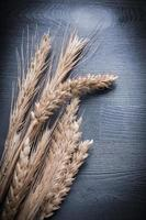 ears of wheat and rye on wood board vertical view