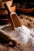 wheat flour on the table