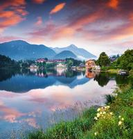 Colorful summer morning on the Grundlsee lake photo